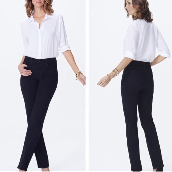 NYDJ Denim - Nydj marilyn straight leg jeans black Sz 4 short
